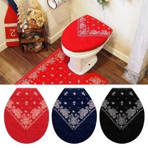 トイレふたカバー U型用 O型用 ペイズリー柄 おしゃれ アメリカン 赤 青 黒|usagi-shop