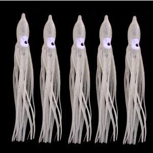 タコベイト  夜光ホワイト 9cm 5匹 ラメ入り インチク ジギングなどに T32