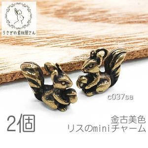 チャーム りす 10mm 立体 パーツ 金古美色 リス ミニチャーム 動物 高品質 2個 usaginosozaiya