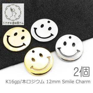 チャーム スマイル 12mm プレート smile 変色しにくい メタルチャーム 高品質/k16gp/本ロジウム|usaginosozaiya