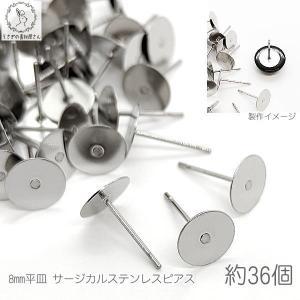 サージカルステンレス 8mm平皿 ピアスポスト 特価 約36本/pp016 usaginosozaiya