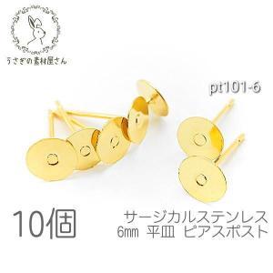 サージカルステンレス ピアス 6mm 平皿 ピアス金具 ゴールド色 10個 usaginosozaiya