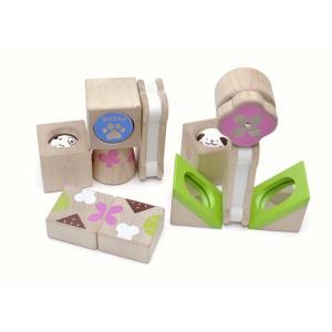 はじめての音つみ木 こいぬのかくれんぼwoodypuddy ウッディプッディ WOODYPUDDY積み木 知育玩具  木製玩具 おもちゃ 音つみき |usakids