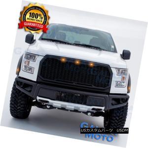 04-08 Ford F150 Raptor Matte Black Front Hood Mesh Grille+Shell+Amber 3x LED