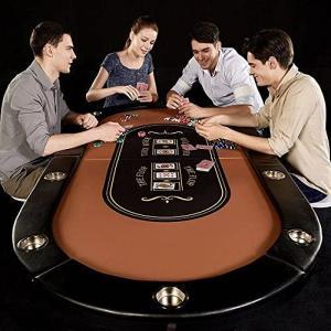 [国内在庫!輸入品]ポーカーテーブル 10人用 カジノテーブル 折畳み式テーブル カップホルダー付き