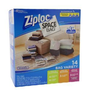 ZIPLOK ジップロック 衣類 圧縮袋 Space Bags 14袋 スペースバッグ#707373