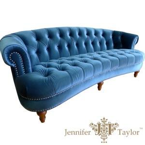 ジェニファーテイラー アウトレットアメリカ家具 3人掛けソファ La Rosa Blue ボタン留め 3P 布ソファ|usf