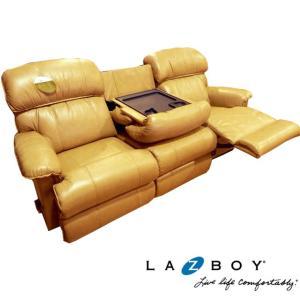 レイジーボーイ LAZBOY 3人掛け リクライニングソファ 550 Cardinal ベージュ 高級 総本革 センターテーブル付き アウトレット アメリカ 輸入家具|usf