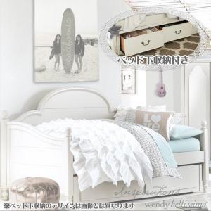 ベッドフレーム シングル デイベッド 収納 ベッド下 収納付き  白 ホワイト 姫系 高級 アンティーク調 シングルベッド ( マットレス 別売) 3832 Inspirations usf