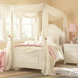 ベッドフレーム シングル 白 ホワイト 天蓋 高級 ( マットレス 別売) 天蓋付 アンティーク調 姫 姫系 白家具 ベッド シングルベッド 3850 Charlotte usf