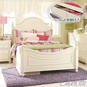 ベッドフレーム ダブル ベッド 白 ホワイト ベッド下 収納 付き  高級 ( マットレス 別売) 3850 Charlotte usf