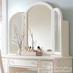 USA輸入アウトレット ミラー 4910 Harmony ホワイト アンティーク調 姫家具 三面鏡|usf