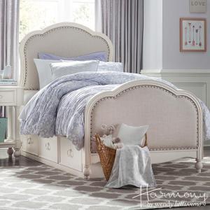 ベッドフレーム シングル ベッド 白 ホワイト 高級 ベッド下収納付( マットレス 別売) ロマンチック ベッド シングルベッド 4910 Harmony Legacy|usf