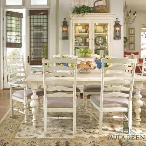 ダイニングテーブルセット 6人掛け 8人掛け も可 伸縮 白 ホワイト アンティーク調 高級 シャビーシック Paula Deen 996|usf