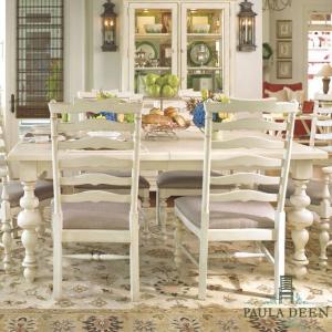 ダイニングテーブル 6人掛け 8人掛け 伸縮 白 ホワイト アイボリー アンティーク調 高級 テーブル フレンチ カントリー 伸長式 大人数 Paula Deen 996|usf