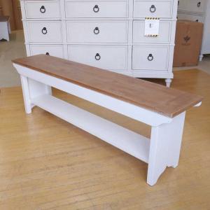 ベンチ スツール チェア 椅子 天然木 パイン 無垢材 白 フレンチ カントリー パイン 無垢材 ドリフト& ホワイト LS016 PGT|usf