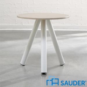 見切り品 サイドテーブル 丸 丸テーブル 組立式 白 ホワイト アウトレット ランプテーブル 花台 Soft Modern アメリカ SAUDER サウダー社|usf