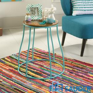 見切り品 スツール 椅子 サイドテーブル 丸 丸テーブル 組立式 ブルー アイアン  花台 丸型 モダン Eden Rue 419777 アメリカ SAUDER社|usf