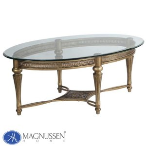 ローテーブル ガラス センターテーブル 丸テーブル 楕円 大きい アンティーク調 ゴールド 高級 ガラステーブル 丸型 テーブル 37526 MAGNUSSEN|usf