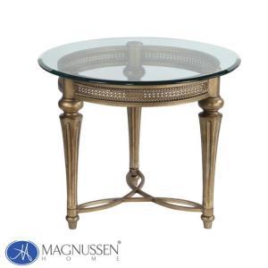 サイドテーブル ガラス テーブル 丸テーブル ゴールド ガラステーブル ナイトテーブル 丸型 アンティーク調 高級 37504 MAGNUSSEN|usf
