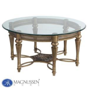 ローテーブル ガラス センターテーブル 丸テーブル 丸 円型 大きい アンティーク調 ゴールド 高級 ガラステーブル 37506 Galloway MAGNUSSEN|usf