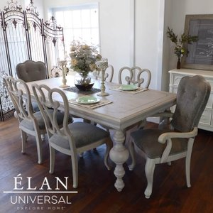 ダイニングテーブルセット 6人掛け 8人掛け も可 グレー 白 ホワイト 猫脚 シャビーシック フレンチ 伸縮 伸長式 高級 ダイニングテーブル アンティーク調 ELAN|usf
