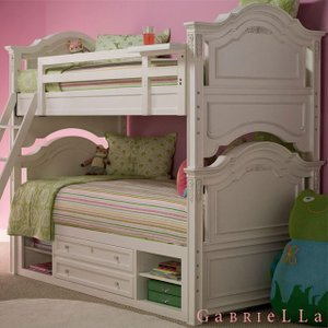【ベッド下収納付き】 2段ベッド(マットレス別売 ) 輸入 家具アウトレット ホワイト GaBRIeLLa 白家具 子供用ベッド ホワイトベッド 姫系 お姫様ベッド|usf