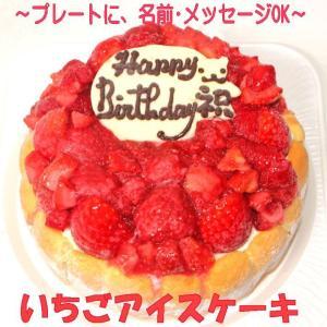 5号いちご生乳アイスクリームアイスケーキ (バースデーケーキ...