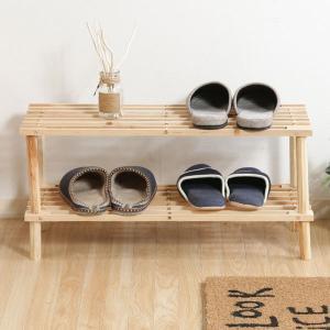 ラック 収納 ディスプレイ 木製 北欧 シンプル 棚 2段の写真