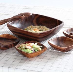 アカシアボウルセット スプーン フォーク 木製食器 ナチュラル 木製 皿 北欧 カフェ アカシアボウル|ushops