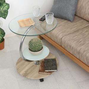 サイドテーブル おしゃれ ガラステーブル インテリア ベッドサイドテーブル スリム 飾り棚 リビング 寝室|ushops
