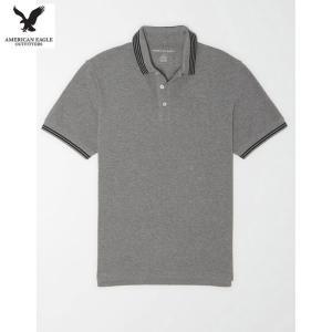 アメリカンイーグル メンズ ヘザーグレー 半袖ポロシャツ アイコン スーパーソフト|usj-mens