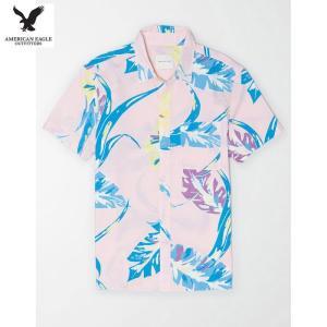 アメリカンイーグル メンズ ピンク 半袖シャツ プリント|usj-mens