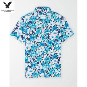 アメリカンイーグル メンズ ブルー 半袖シャツ プリント|usj-mens