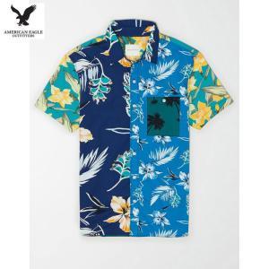 アメリカンイーグル メンズ ブルー 半袖シャツ パッチワーク|usj-mens