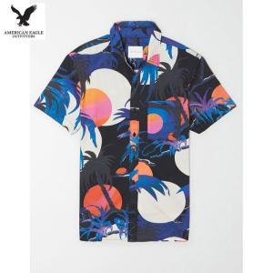 アメリカンイーグル メンズ ブラック 半袖シャツ プリント|usj-mens