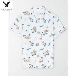 アメリカンイーグル メンズ ホワイト 半袖シャツ プリント|usj-mens