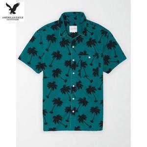 アメリカンイーグル メンズ ティール 半袖シャツ プリント|usj-mens