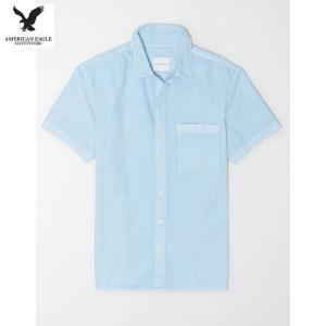 アメリカンイーグル メンズ ブルー 半袖シャツ オックスフォード|usj-mens