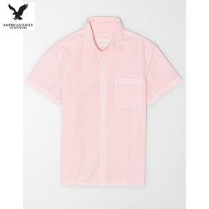 アメリカンイーグル メンズ ピンク 半袖シャツ オックスフォード|usj-mens