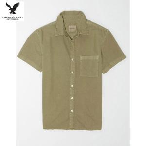 アメリカンイーグル メンズ オリーブ 半袖シャツ オックスフォード|usj-mens