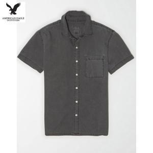 アメリカンイーグル メンズ ヘイズグレー 半袖シャツ オックスフォード|usj-mens
