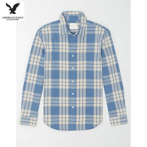アメリカンイーグル メンズ ブルー 長袖シャツ チェック柄 ポプリン|usj-mens