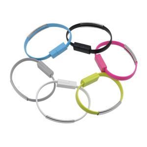 ブレスレット型 充電 データ通信 ケーブル MicroUSB  全6色BlueSea|uskey