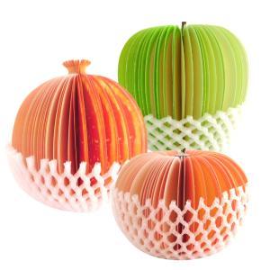 メモ帳 付箋 フルーツ型 かわいい おしゃれ 面白い フルーツメモ 卓上メモ ネット付き インスタ 3種類セット|uskey