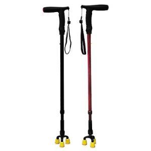 送料無料、介護用品、自立式三脚杖、三点杖、