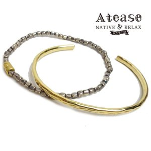 Atease アティース バングル ブレスレット 2本セット BRASS BEADS BRACELET AB-SET-BR|usual