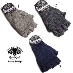 BLACK SHEEP ブラックシープ 手袋 ミトン フィンガーレスグローブ ウール ニット メンズ BG08B|usual
