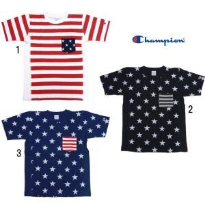 Champion チャンピオン メンズ 星条旗柄 アメリカ柄プリント リバースウィーブポケット付き Tシャツ C3-F310|usual