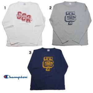 Champion チャンピオン ロチェスター ロング スリーブ Tシャツ ロンT 長袖 プリント Tシャツ C3-J406|usual